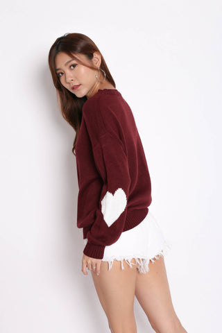 HEARTS ON SLEEVES KNIT TOP IN PLUM