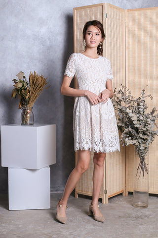 *TOPAZ* (PREMIUM) LIV VICTORIAN SLEEVED LACE DRESS IN WHITE
