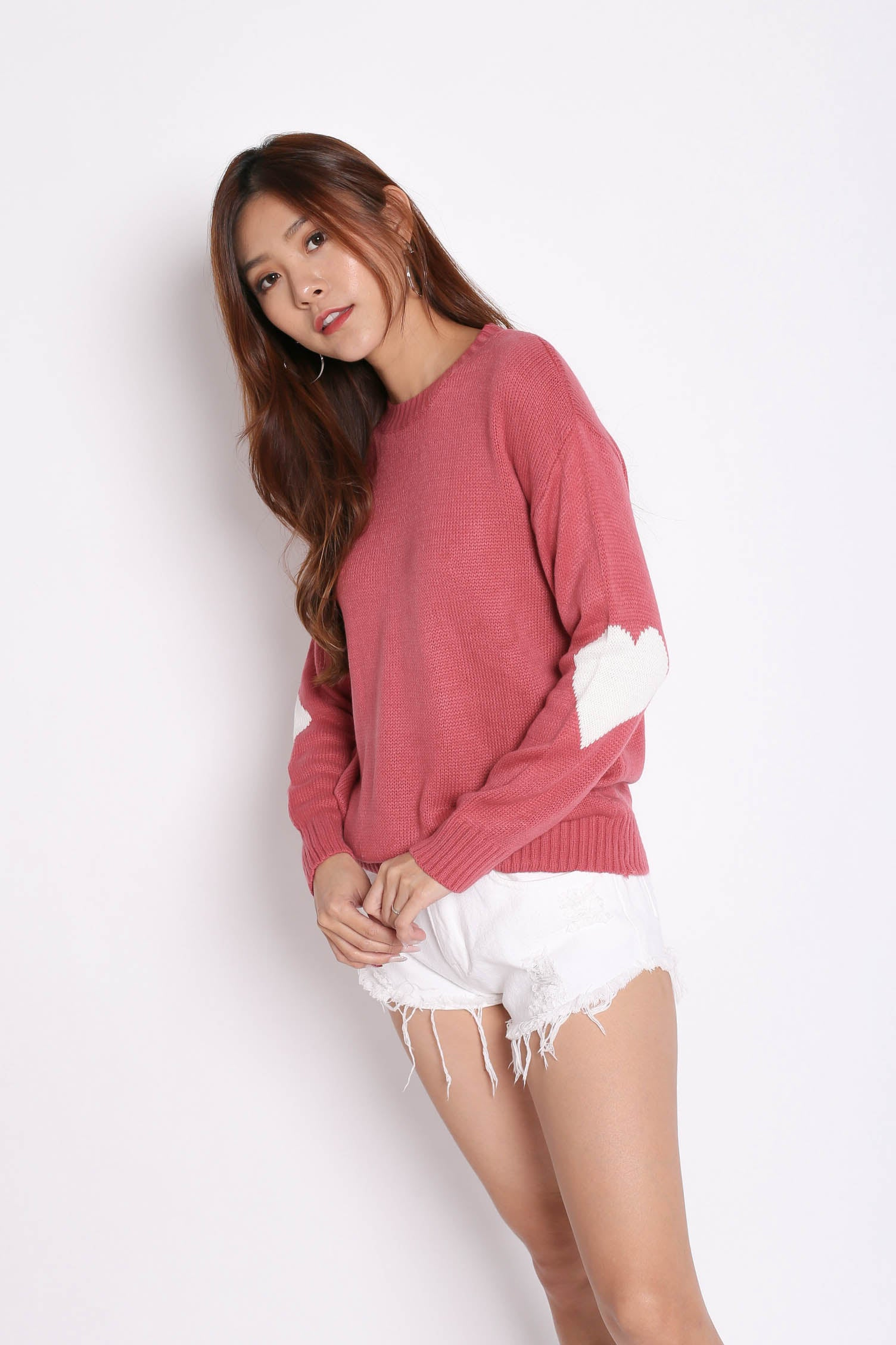 HEARTS ON SLEEVES KNIT TOP IN CANDY PINK