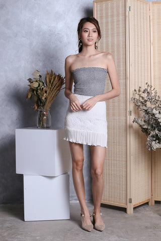 LEANDER LACE PLEATED SKIRT IN WHITE