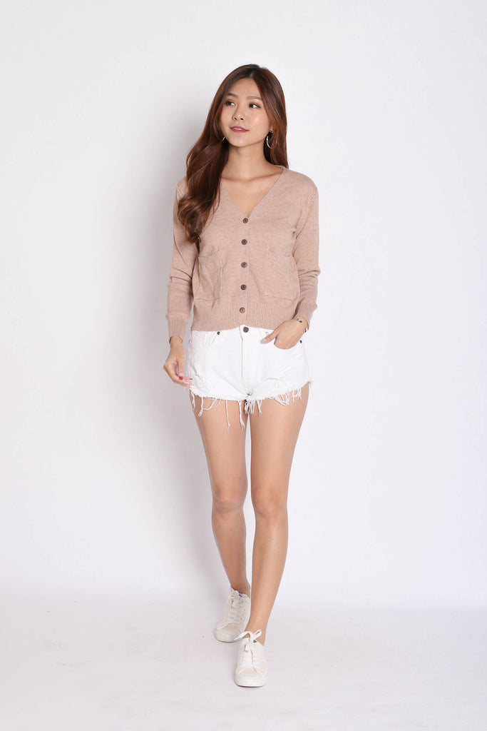 DULCE SOFT KNIT CARDIGAN IN WASHED TAUPE - TOPAZETTE