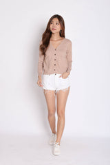 DULCE SOFT KNIT CARDIGAN IN WASHED TAUPE