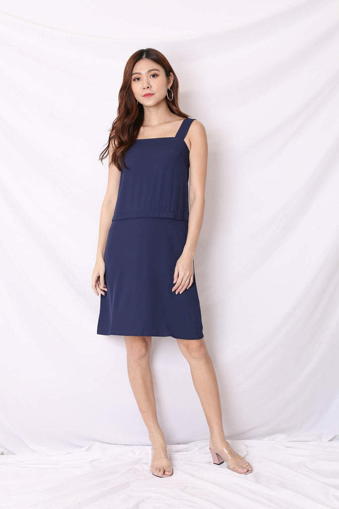 *TPZ* (PREMIUM) CELIA ZIPPER TOP AND DRESS IN NAVY