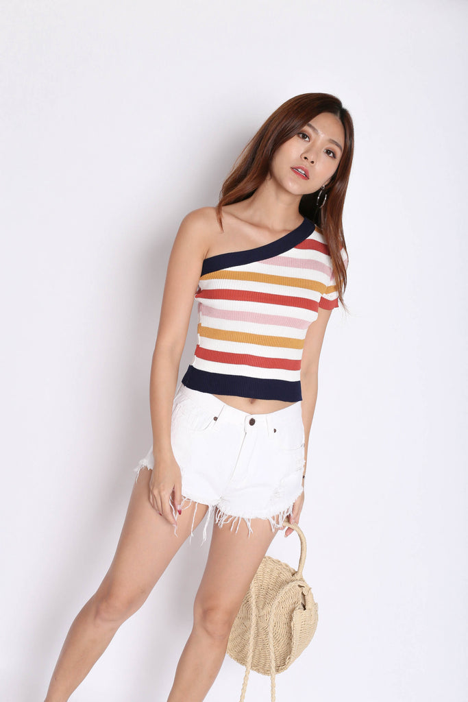 BRIA RAINBOW TOGA KNIT TOP IN NAVY - TOPAZETTE