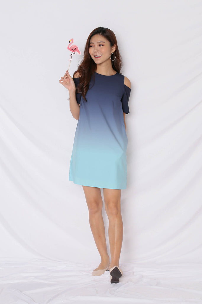 *TPZ* (PREMIUM) HAPPILY EVER AFTER COLD SHOULDER DRESS (NAVY/ MINT)