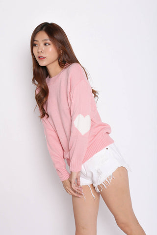 HEARTS ON SLEEVES KNIT TOP IN BABY PINK