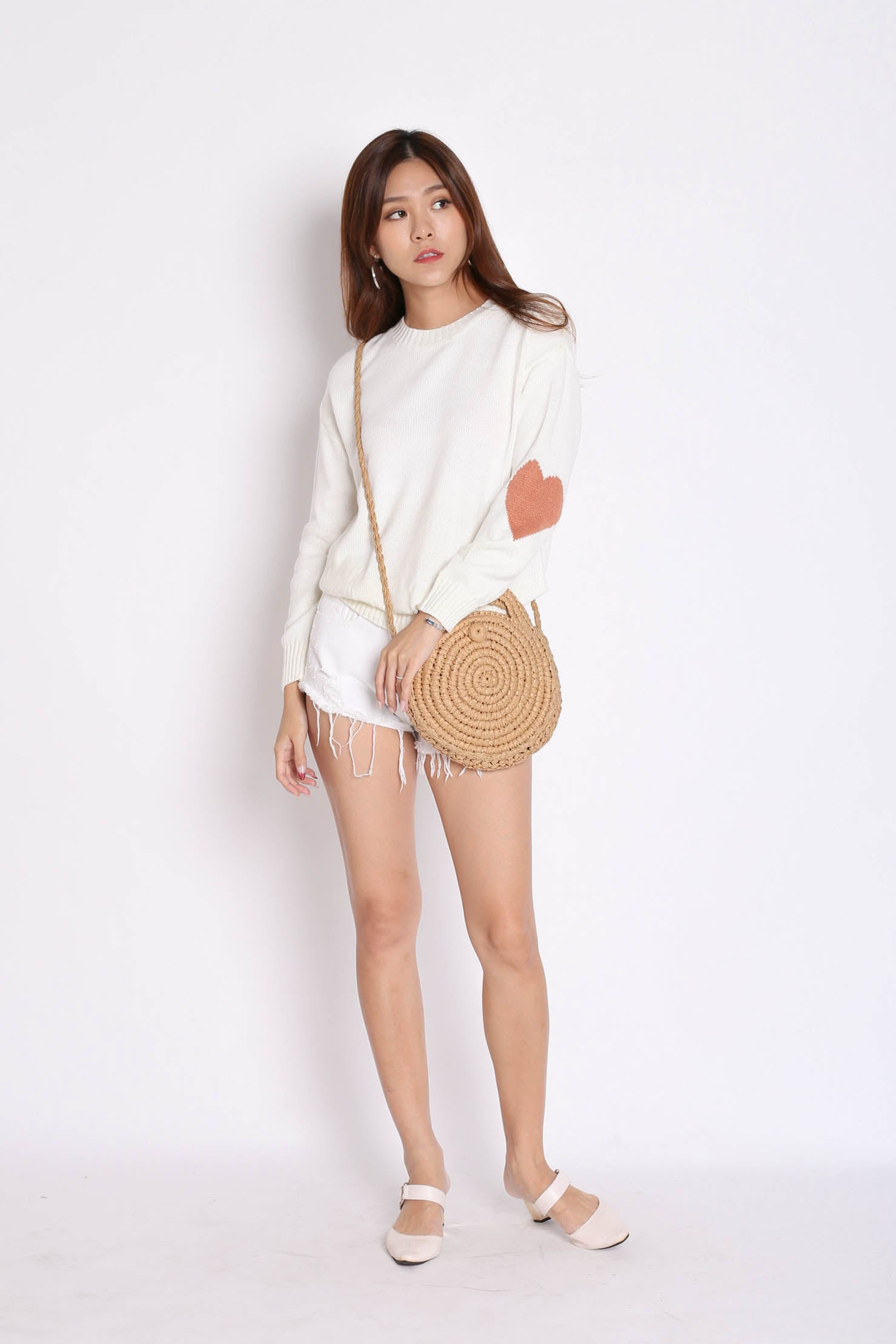 HEARTS ON SLEEVES KNIT TOP IN CREAM