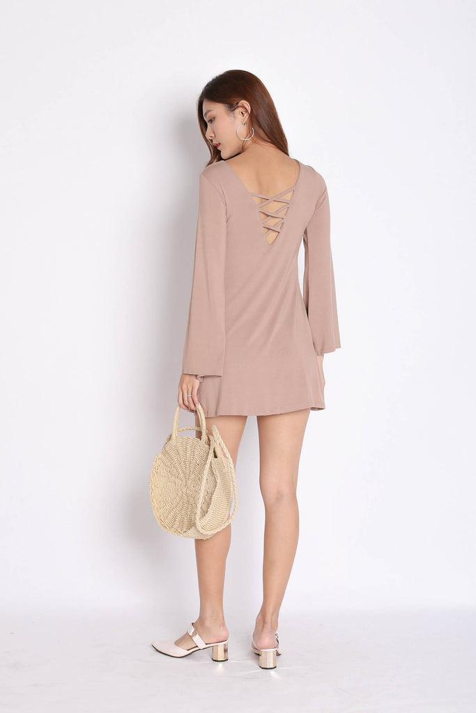 *BACKORDER* BREE LACED BELL SLEEVES DRESS IN TAUPE - TOPAZETTE
