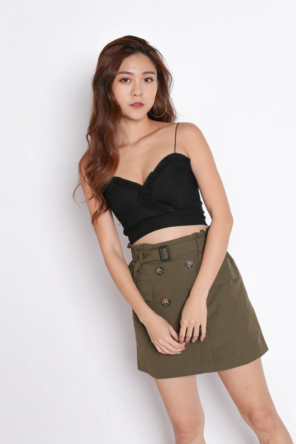 TRENCH SKORTS IN OLIVE - TOPAZETTE