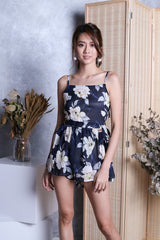 MELODY FLORAL ROMPER IN NAVY