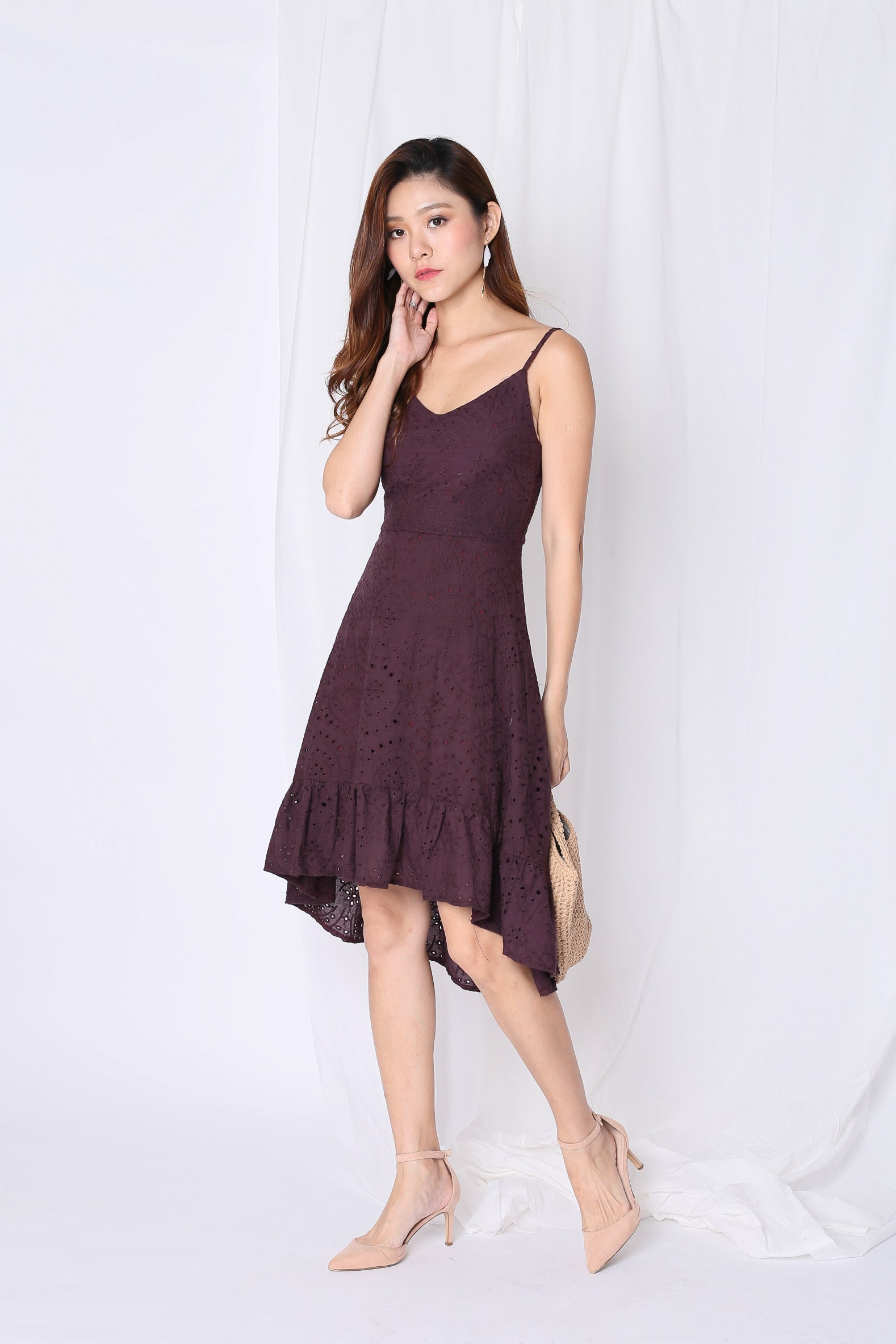 *TPZ* (PREMIUM) SHEVELLE EYELET DRESS IN PLUM
