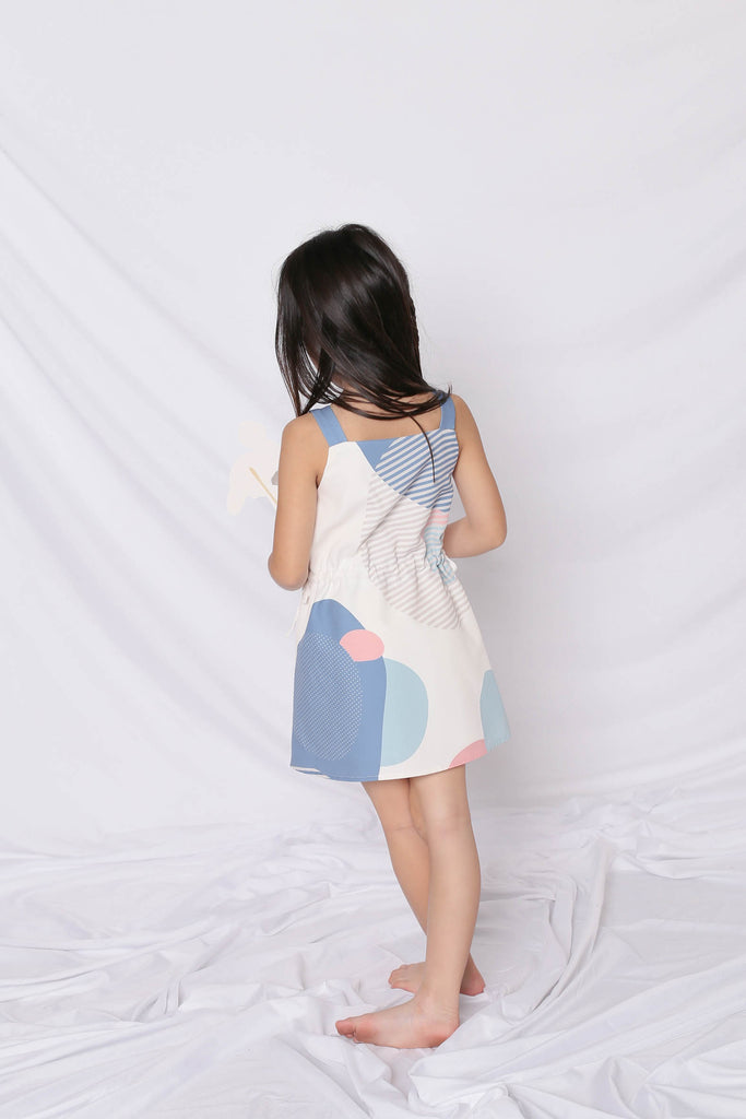 *LITTLE TOPAZETTE* THE GEOMETRIC COLLECTION TRAPEZE DRESS (VERSION 2) PINK/ BLUE - TOPAZETTE