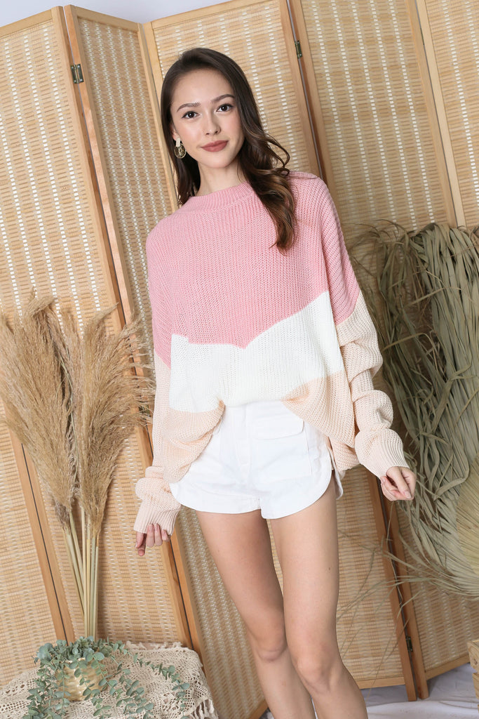 CAMMIE COLOUR BLOCK SWEATER (PINK/ CREAM)
