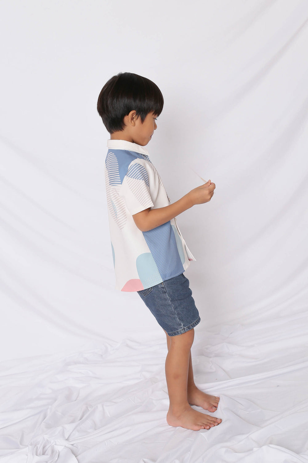 *LITTLE TOPAZETTE* THE GEOMETRIC COLLECTION UNISEX SHIRT (VERSION 2) PINK/ BLUE