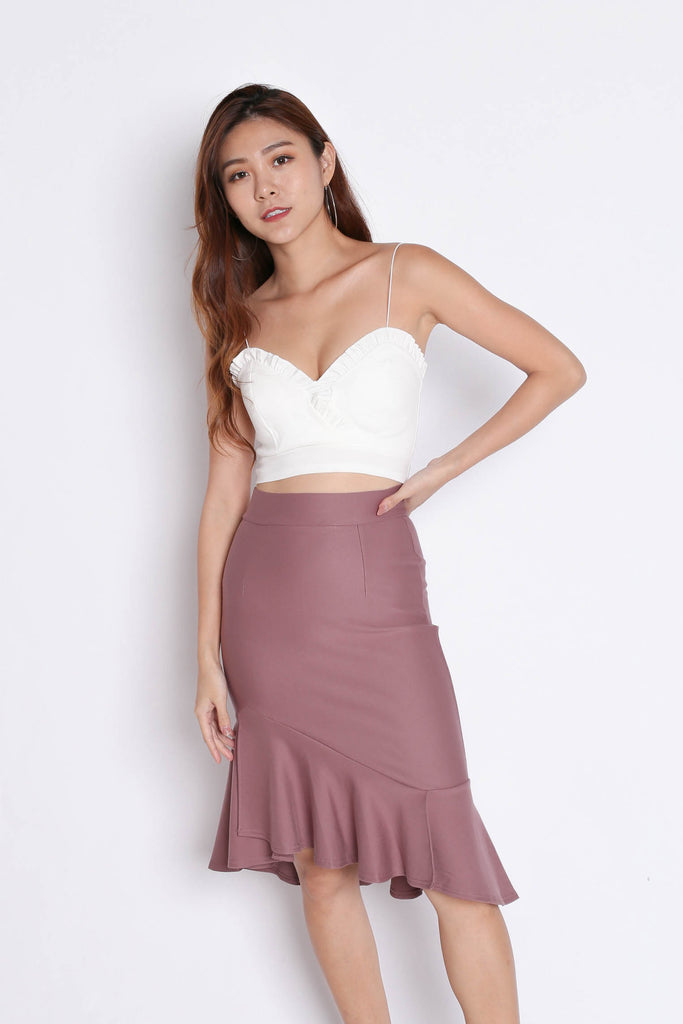 BREELYN CLASSIC MERMAID BODYCON SKIRT IN MAUVE