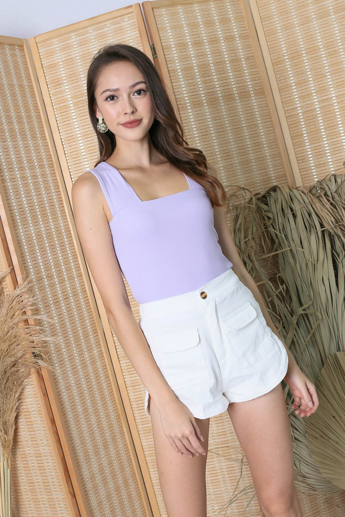 *TPZ* (PREMIUM) ZALIA SQUARE NECK V TOP IN LILAC