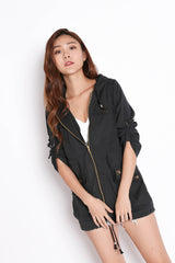 TAL PARKA WITH HOOD IN BLACK