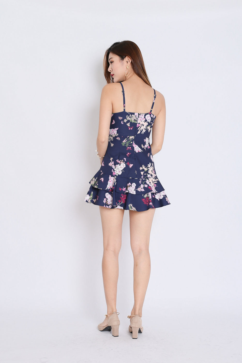 (PREMIUM) SAGE RUFFLES DRESS ROMPER IN NAVY FLORALS