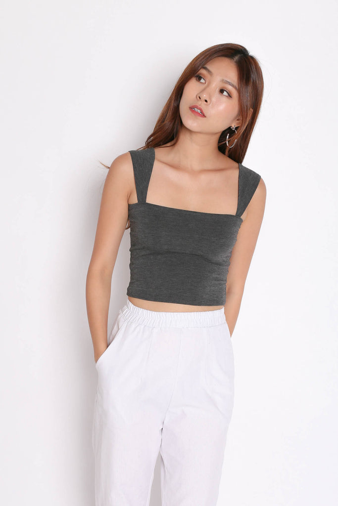 BASIC SQUARE SPAG TOP IN DARK GREY - TOPAZETTE