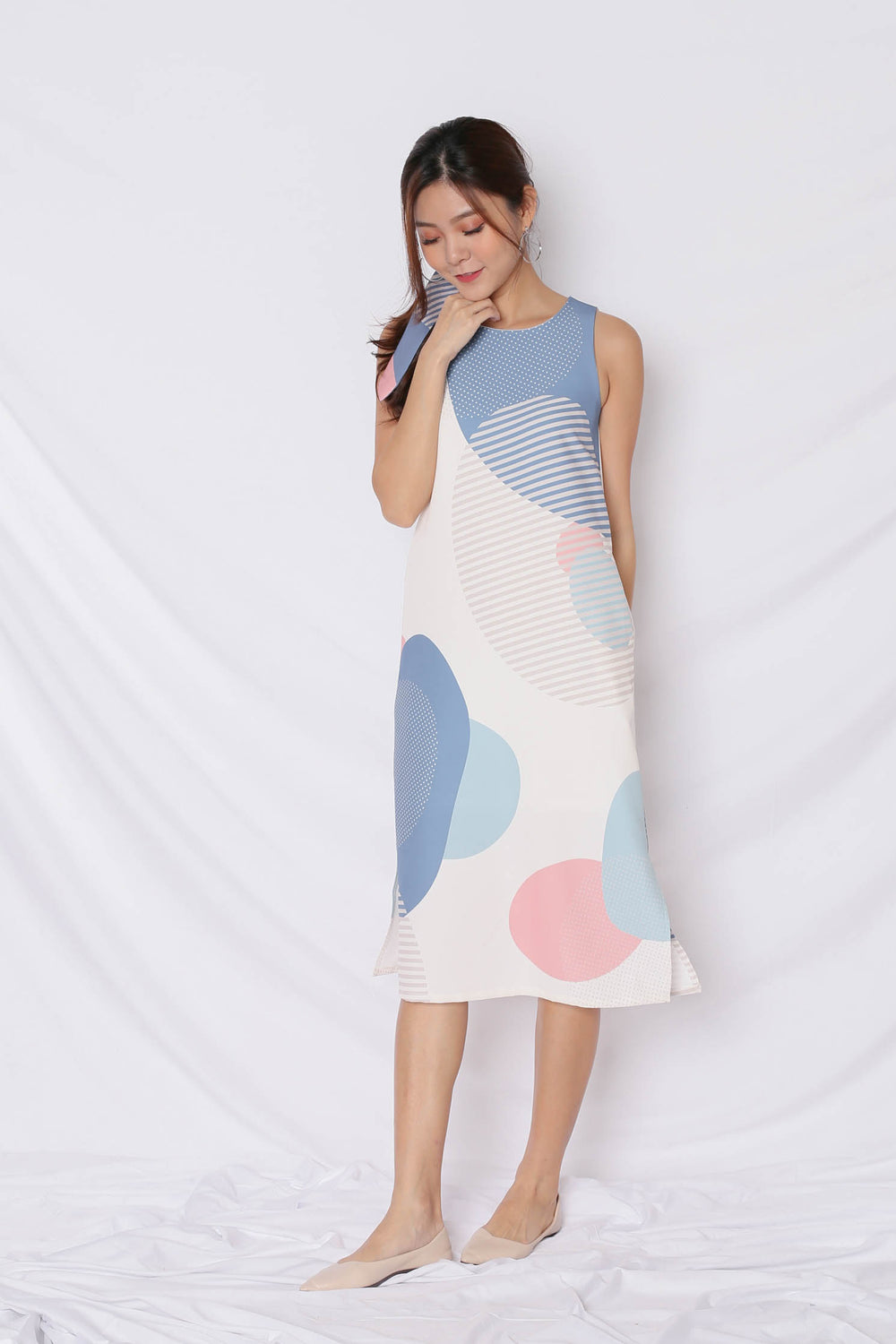 (PREMIUM) THE GEOMETRIC COLLECTION MIDI SHIFT DRESS (VERSION 2) PINK/ BLUE