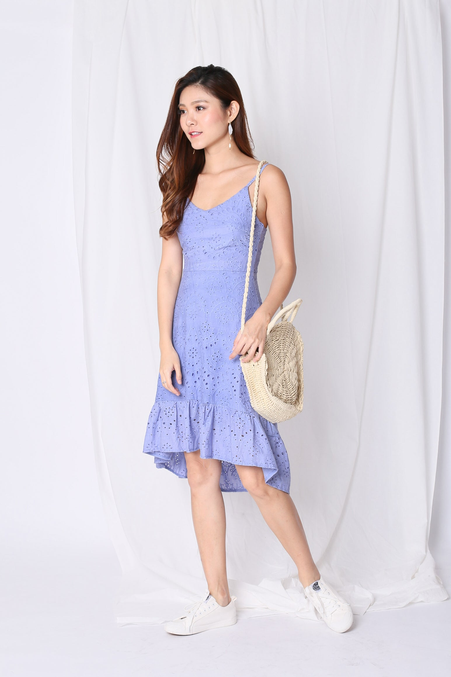 *TPZ* (PREMIUM) SHEVELLE EYELET DRESS IN PERIWINKLE