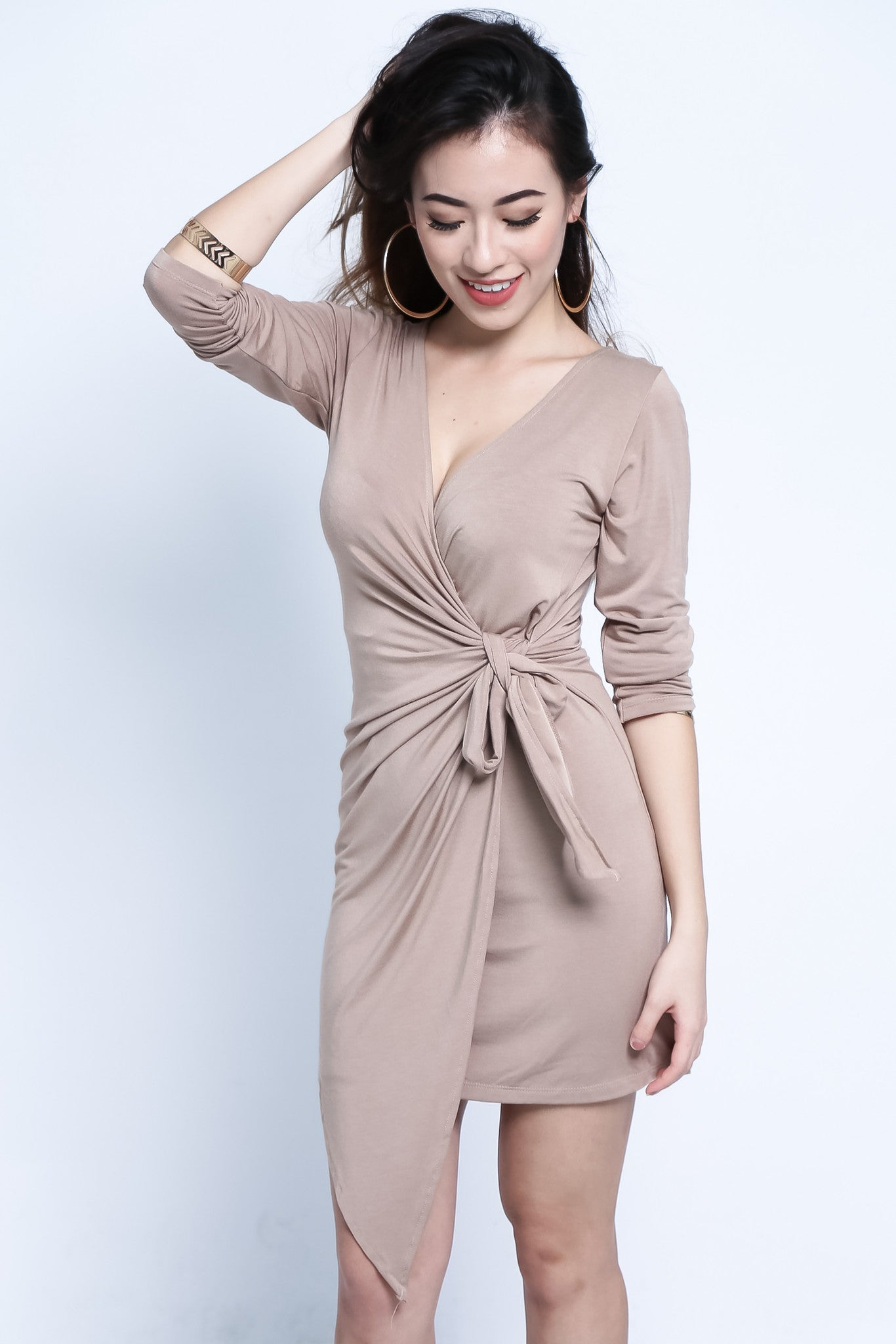 *RESTOCKED* DRAPE WRAP DRESS IN TAUPE - TOPAZETTE