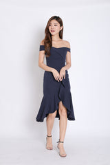 (PREMIUM) URSHA OFF SHOULDER RUFFLES DRESS IN NAVY
