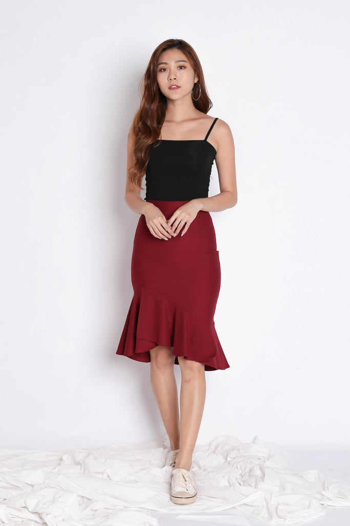 BREELYN CLASSIC MERMAID BODYCON SKIRT IN WINE