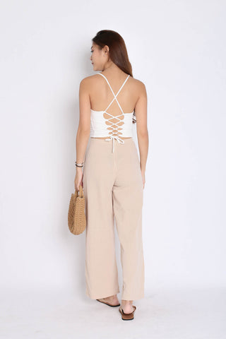 BASIC LINEN PANTS IN SAND
