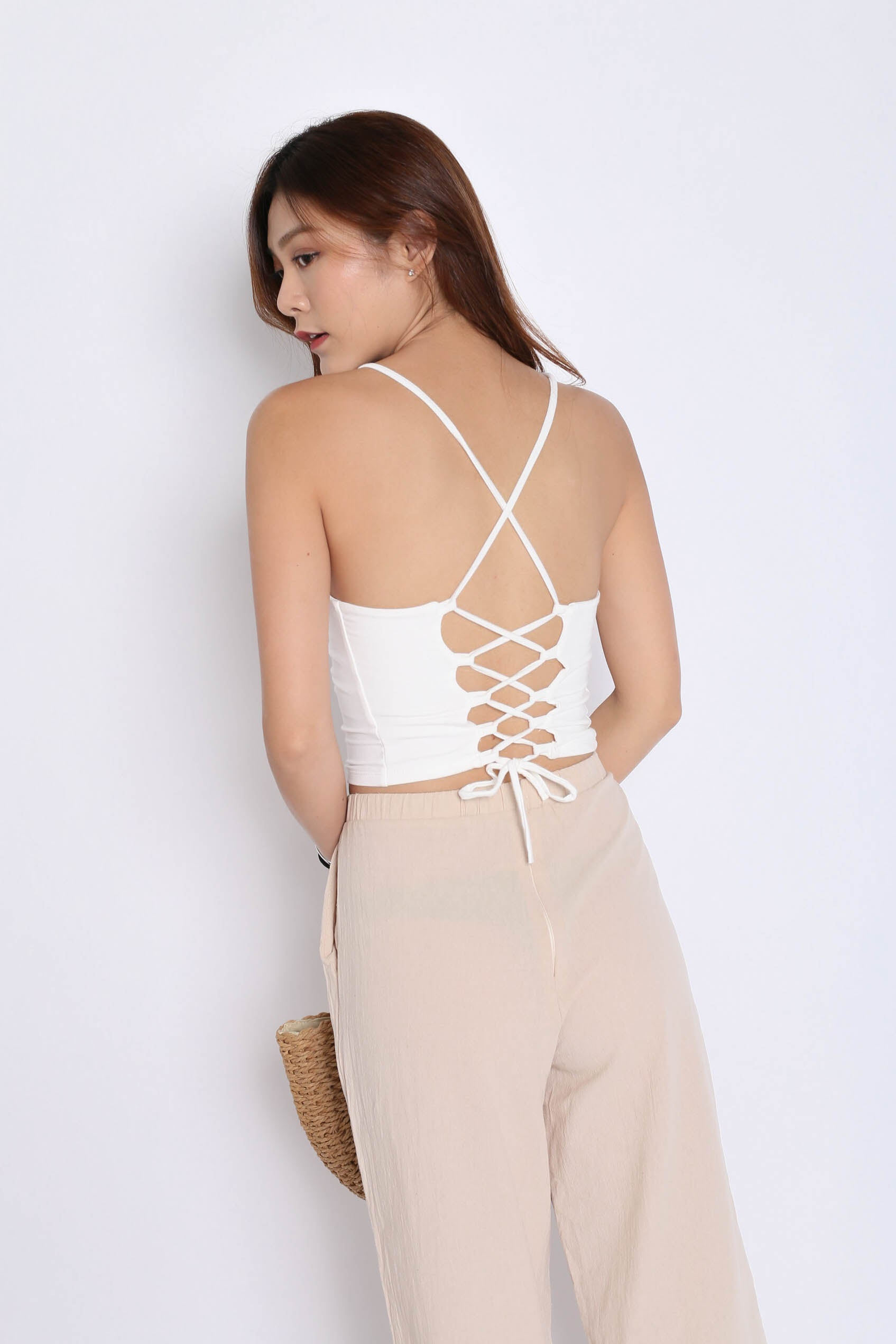 ab71c94aee BACKORDER  BASIC LACED BACK TOP IN WHITE – TOPAZETTE
