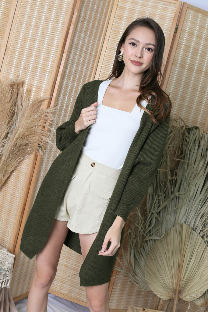 *BACKORDER* BEA COSY SOFT KNIT CARDIGAN IN OLIVE