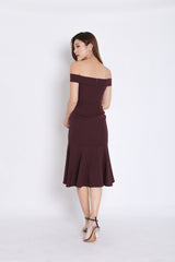 (PREMIUM) URSHA OFF SHOULDER RUFFLES DRESS IN PLUM
