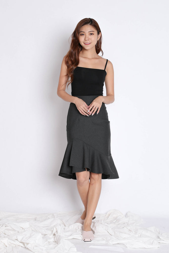 BREELYN CLASSIC MERMAID BODYCON SKIRT IN DARK GREY