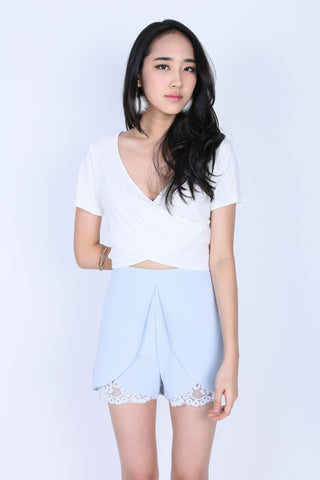 *RESTOCKED* QUINN CROSS WRAP CROP TOP IN WHITE