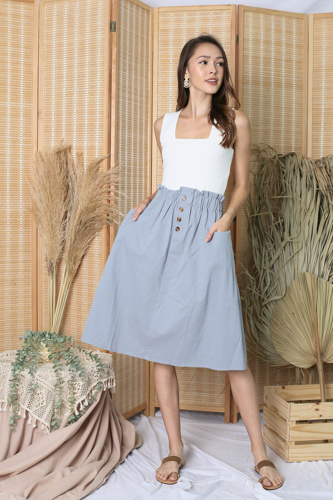 CHARLEIGH PAPERBAG SKIRT IN DUSTY BLUE