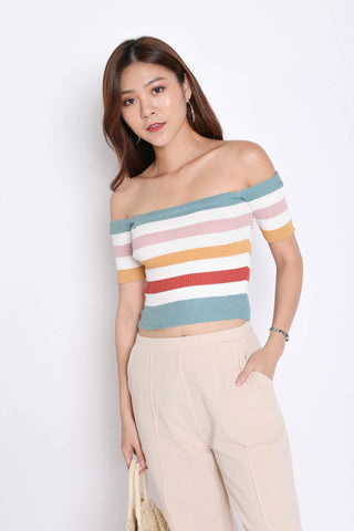 RAINBOW OFF SHOULDER KNIT TOP IN CYAN
