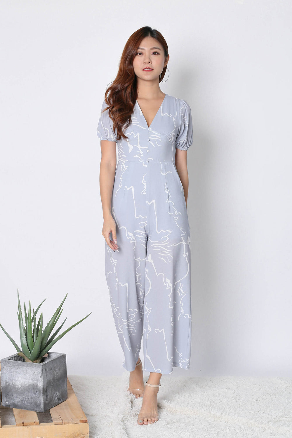 *TPZ* (PREMIUM) SCRIBBLE ABSTRACT JUMPSUIT IN DUSTY BLUE