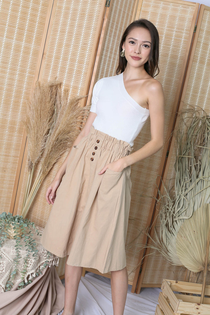 CHARLEIGH PAPERBAG SKIRT IN SAND