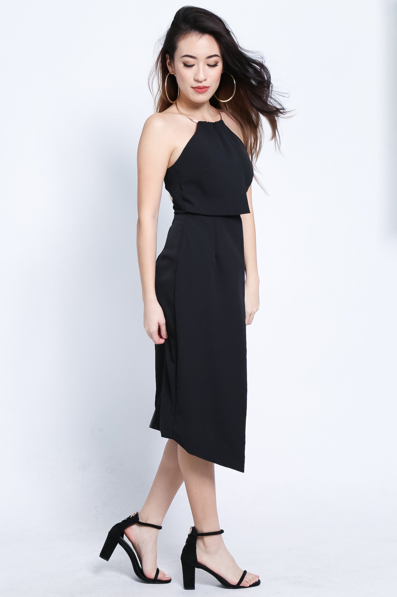*TOPAZ* (PREMIUM) TINSEL RING MIDI DRESS IN BLACK - TOPAZETTE