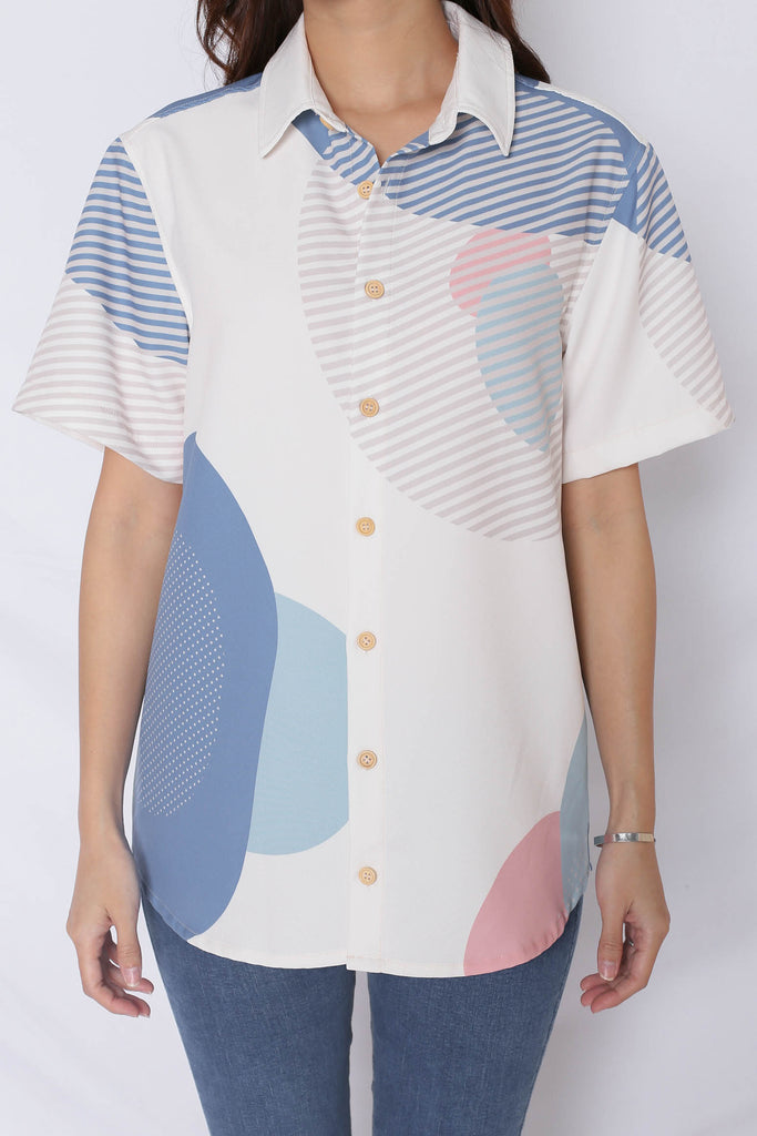 (PREMIUM) THE GEOMETRIC COLLECTION UNISEX SHIRT (VERSION 2) PINK/ BLUE - TOPAZETTE