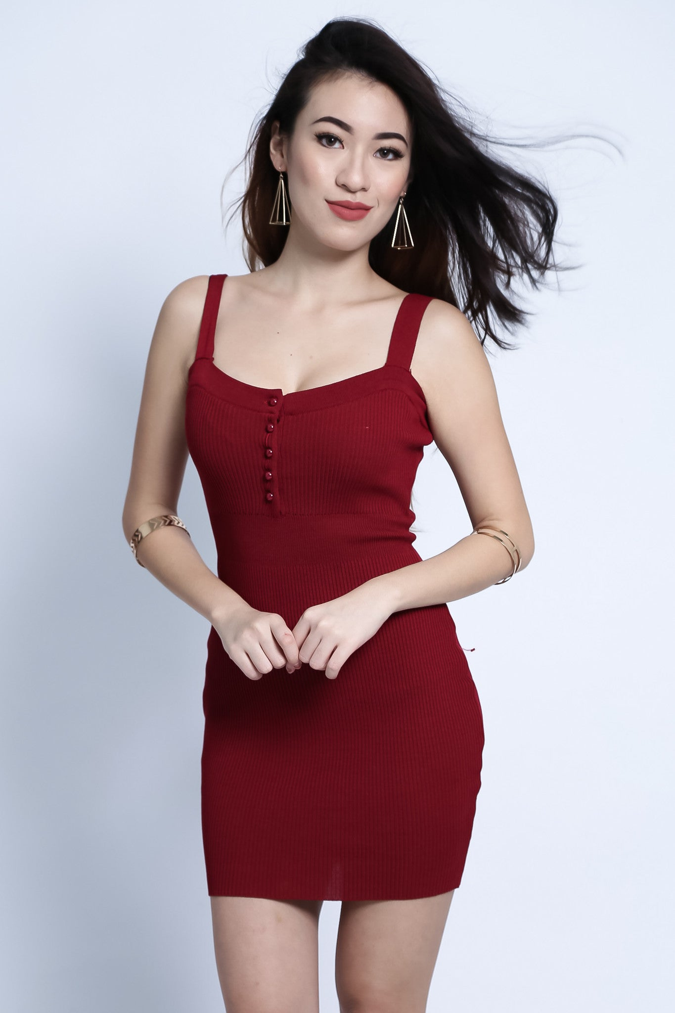 (RESTOCKED) BUTTONED KNIT DRESS IN WINE - TOPAZETTE