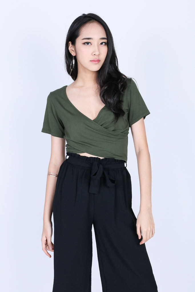 *RESTOCKED* QUINN CROSS WRAP CROP TOP IN ARMY GREEN - TOPAZETTE
