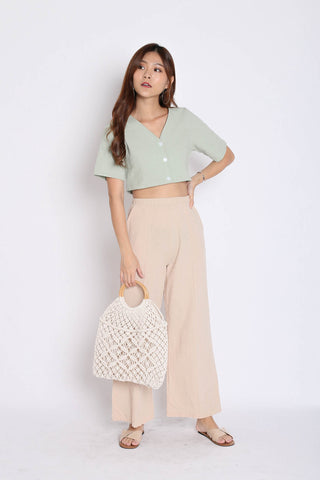 LINEN BUTTON CROP TOP IN MINT