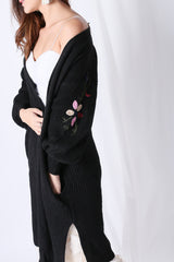 INNIS FLORAL EMBROIDERY CARDIGAN IN BLACK