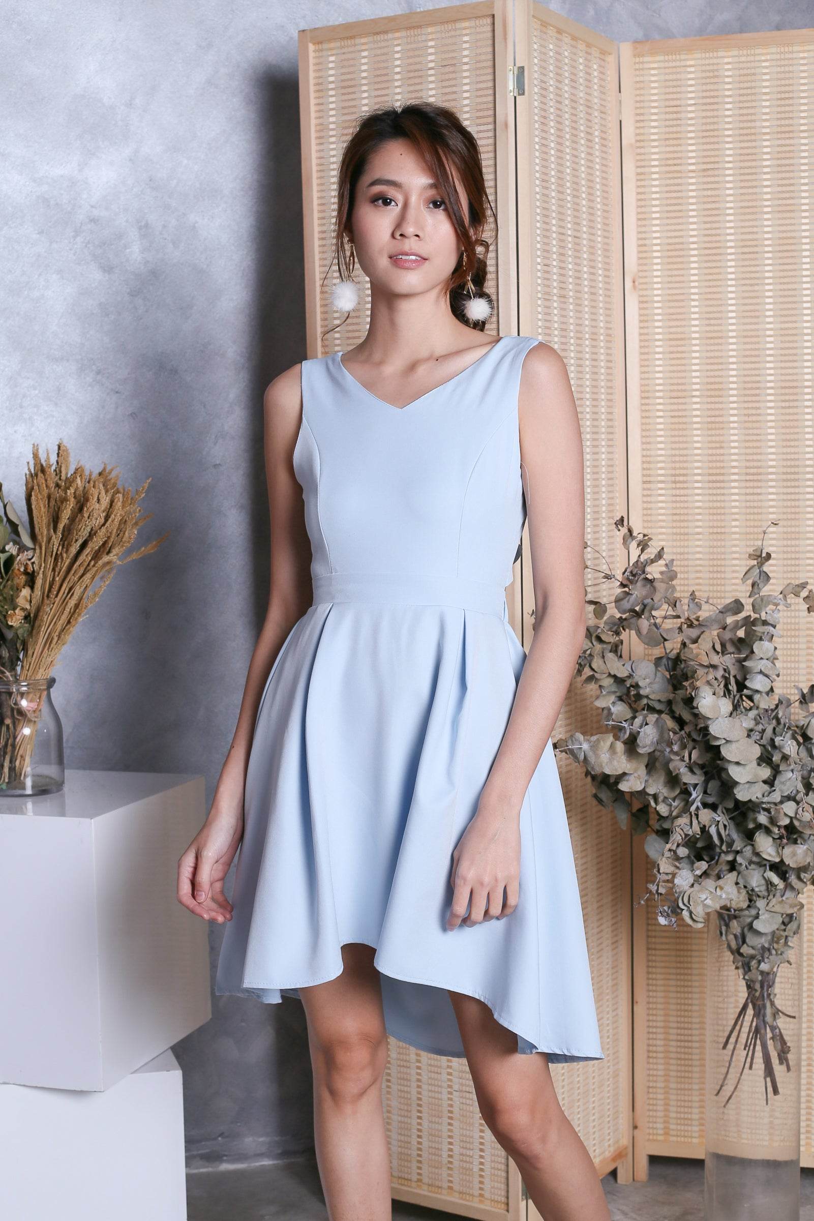 *TOPAZ* (PREMIUM) VAL RIBBON BACK DRESS IN BABY BLUE