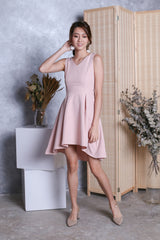 *TOPAZ* (PREMIUM) VAL RIBBON BACK DRESS IN DUSTY PINK