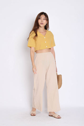 LINEN BUTTON CROP TOP IN MARIGOLD