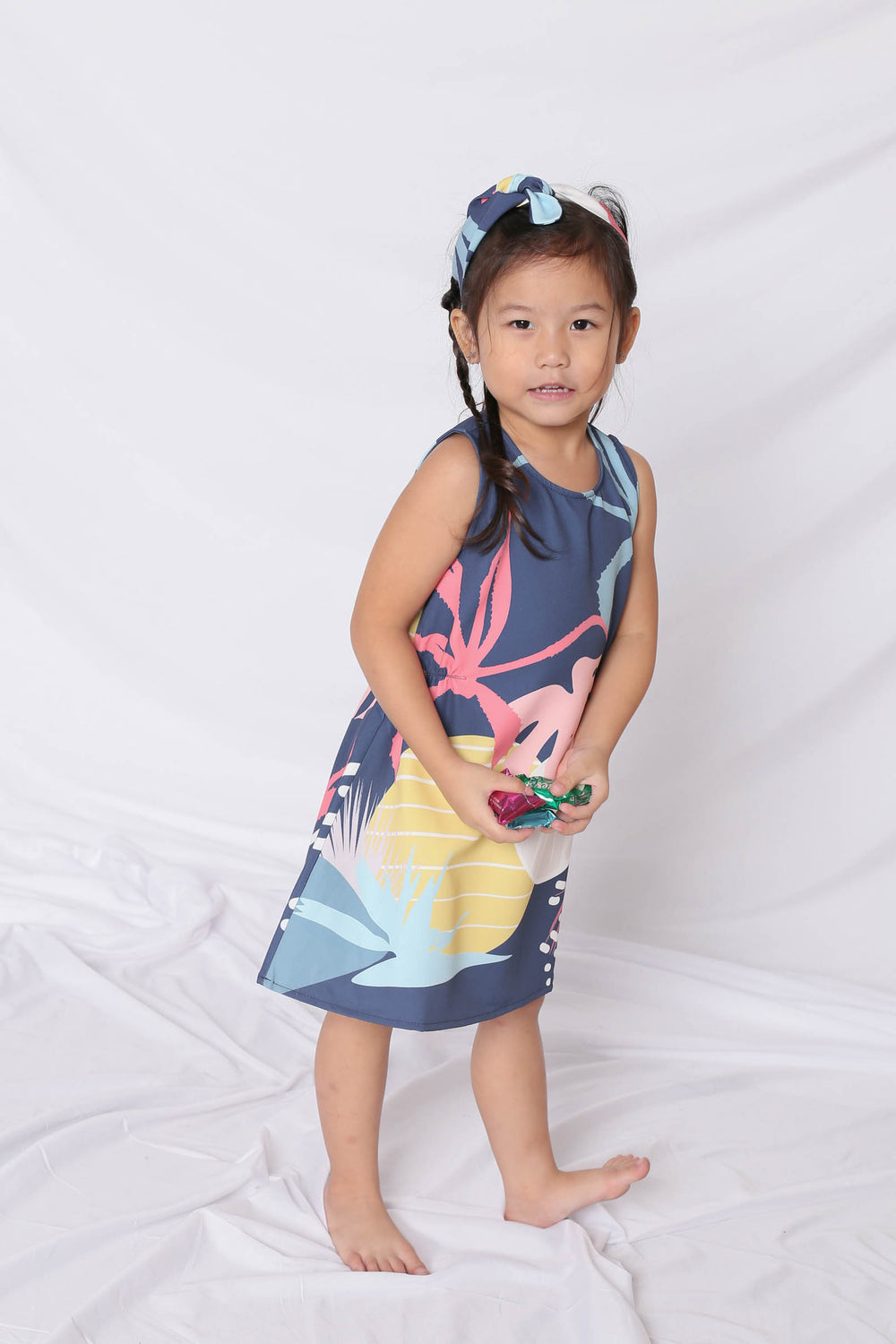 *LITTLE TOPAZETTE* ALOHA ELASTIC TRAPEZE DRESS IN NAVY