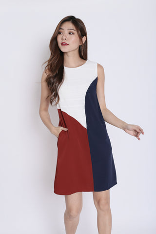 edcb7d0355c (PREMIUM) FALLYN COLOURBLOCK SHIFT DRESS (NAVY  ROSEWOOD)