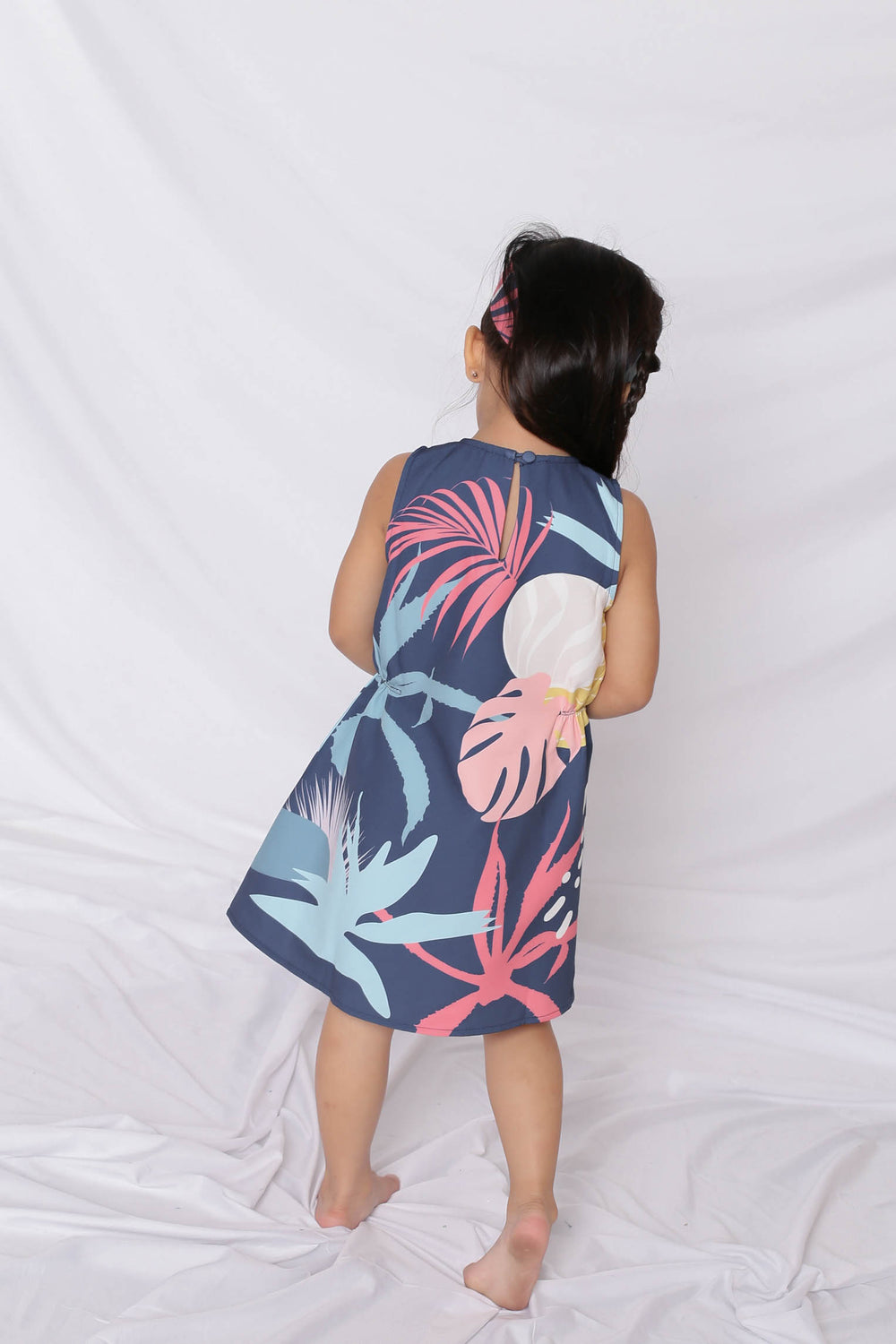 *LITTLE TOPAZETTE* ALOHA ELASTIC TRAPEZE DRESS IN NAVY - TOPAZETTE